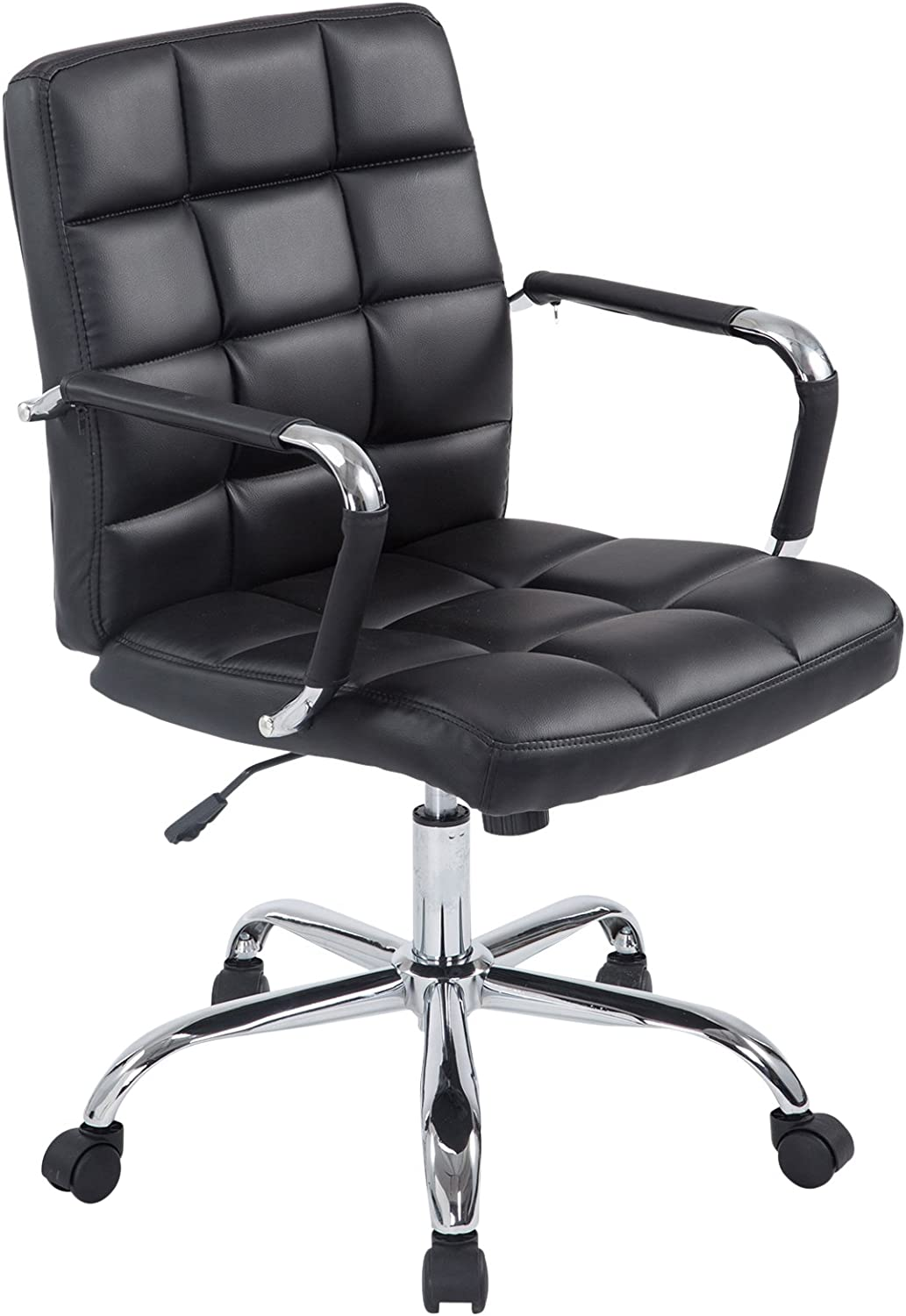 Poly and Bark Manchester Office Chair in Vegan Leather, Black