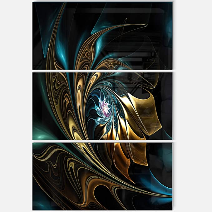 Amazon Com Designart Mt12104 3pv Brown Blue Fractal Flower In Black Oversized Abstract Metal Wall Art 3 Piece 28 H X 36 W X 1 D 3p Wall Art