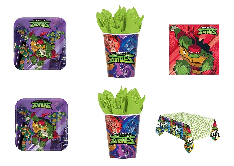 Cdc - Kit n° 17 de las Tortugas Ninja para fiestas y celebraciones (32 platos, 32 vasos, 40 servilletas y 1 mantel).