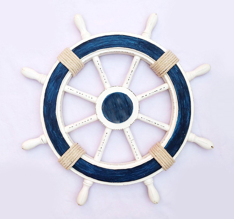 Nautical Decorative White Blue Premium Ship Wheel With Accentuated Rope | Pirate's Wall Decor | Sea Gift | Nagina International … (48 Inches)