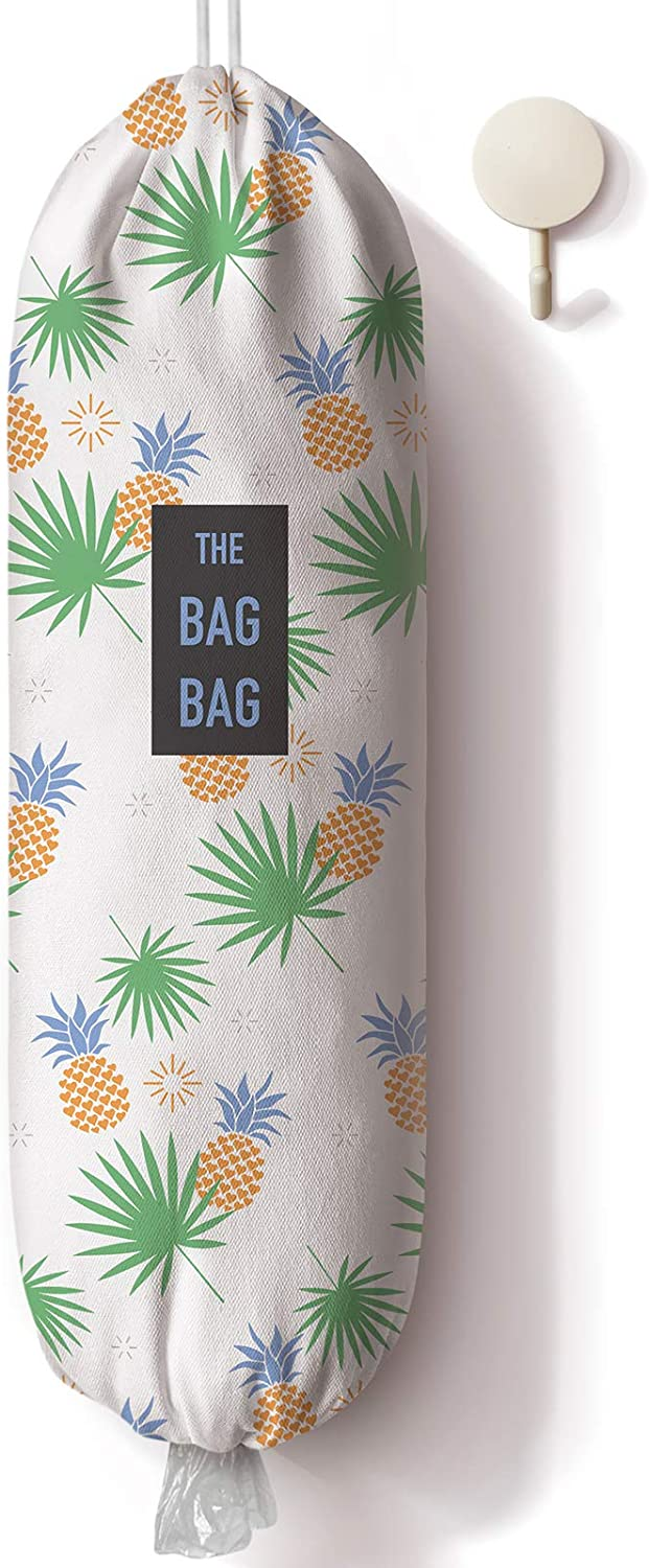 Pineapple Pattern Plastic Bag Holder and Dispenser, Grocery Shopping Bags Carrier, Garbage Bag Organizer for Kitchen,Pineapple Home Kitchen Décor, Gifts for the Holiday/Housewarming/Family/Friends