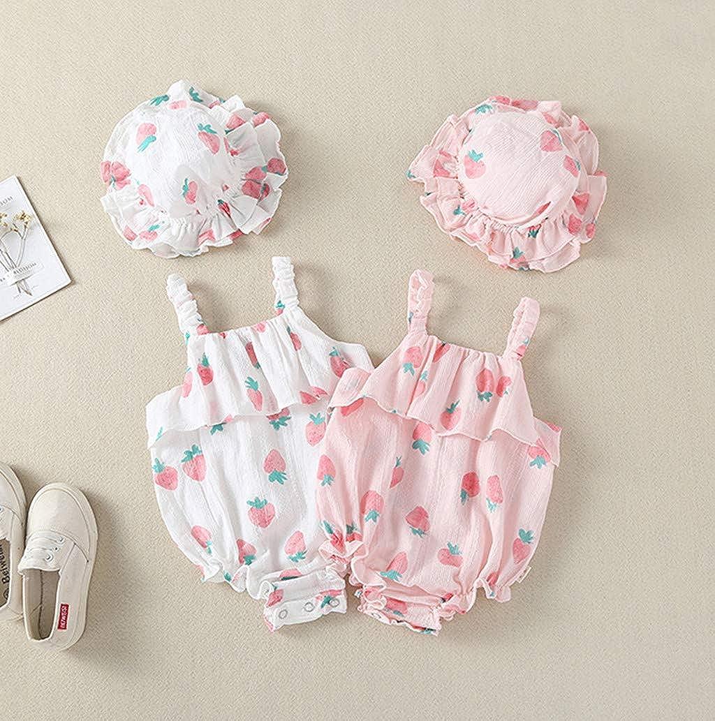 Allegorly Baby M/ädchen /Ärmelloser Overall Sets Sommer Erdbeer-Druck Eleganter Jumpsuit mit R/üschen Bodys Baby Strampler Bodysuit Bedruckter Sonnenhut 0-18 Monate