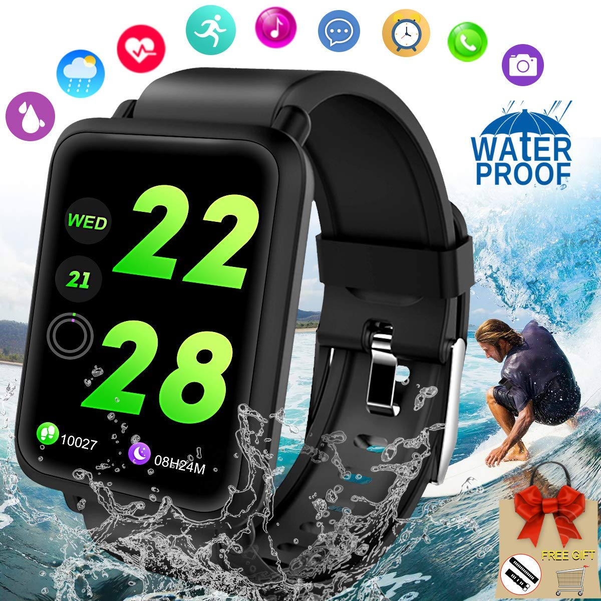 Fitness Tracker Smart Watch, Waterproof Fitness Watches with Blood Pressure Heart Rate Calorie Monitor,Sport Bluetooth Smartwatch Activity Tracker Watch with Pedometer for Women Men Android iOS