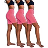 Sexy Basics Slip Shorts | 3-Pack Bike Shorts | Cotton Spandex Stretch Boyshorts for Yoga/Workouts