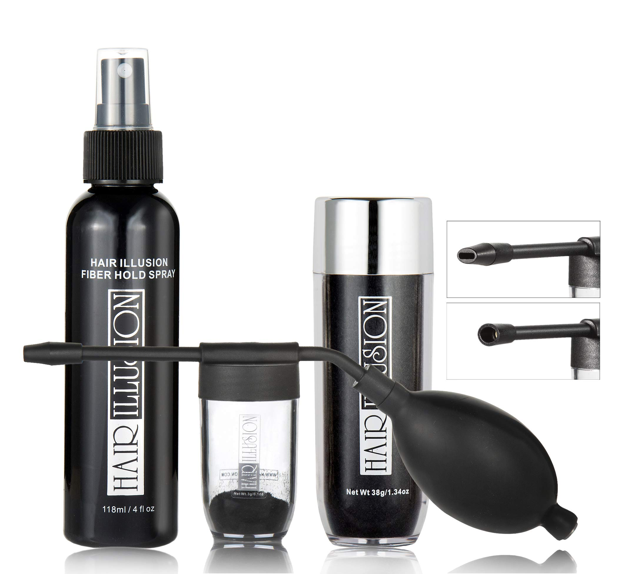 Hair illusion Combo pack kit Inc. 38g Black Fibers, Applicator, Holding Spray