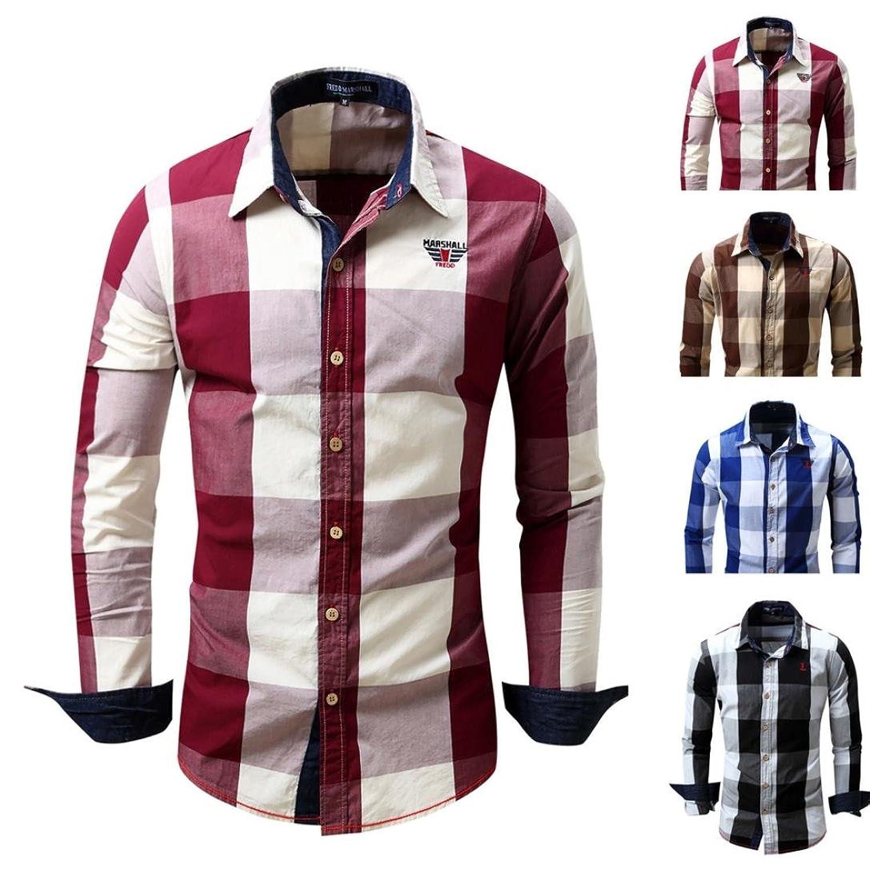 SHOBDW La camisa de los hombres de manga larga no plancha casual blusa de algodón Slim Fit Plaid superior cs7jAqKL