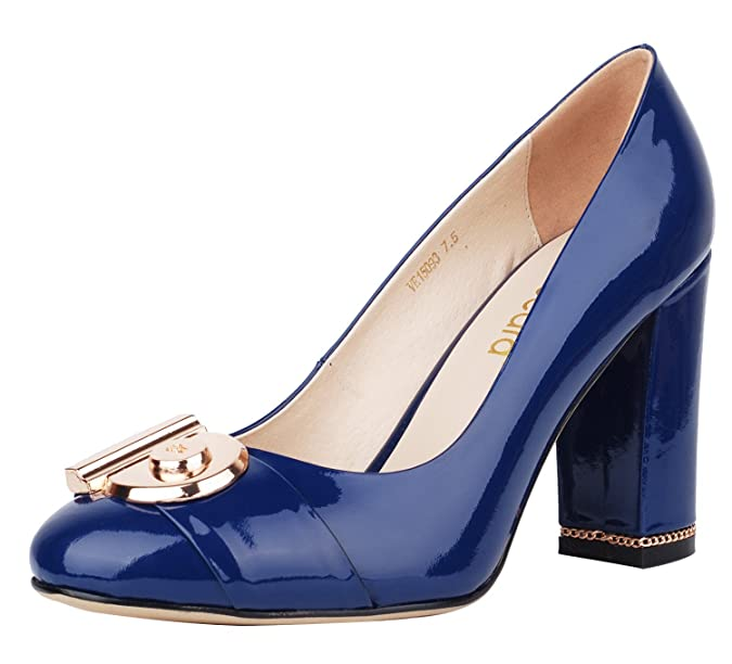 Verocara Women's 3.9inch Chunky Heel Ornament Decoration Genuine Leather  Evening Dress Pumps Court Shoes: Amazon.co.uk: Shoes & Bags