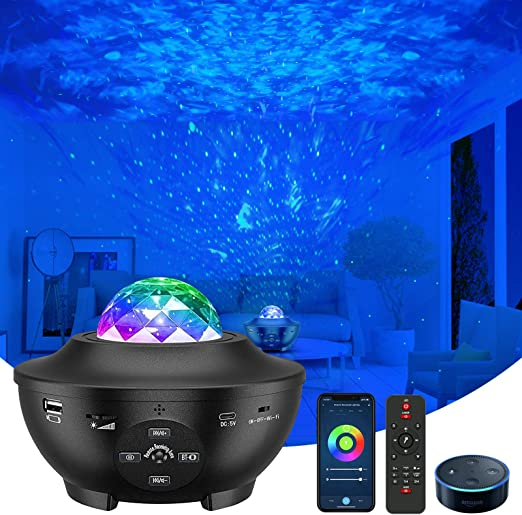 Star Projector, VAISEKE Galaxy Projector Work with Alexa Google Assistant, Night Light Projector with Bluetooth Music Speaker, for Baby Kids Bedroom/Game Rooms/Home Theatre/Night Light Ambiance