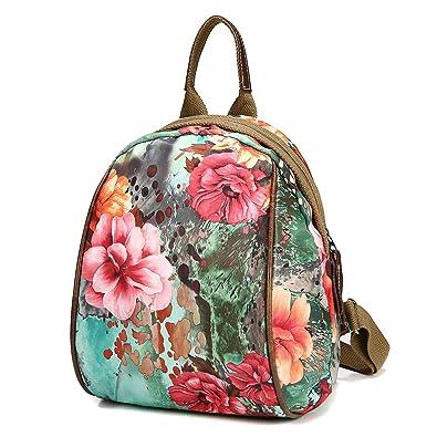 1fe26618a7152 Amazon.com: JOSEKO Fashion Shoulder Bag Rucksack, Women Nylon Flower  Pattern Multifunctional National Style Handbag Shoulder Bags Backpacks  Green: Shoes