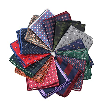 4ebca97fe9d2 Mantieqingway Men's Polyester Paisley Hankies Plaid Pocket Square  Handkerchiefs: Amazon.ca: Luggage & Bags