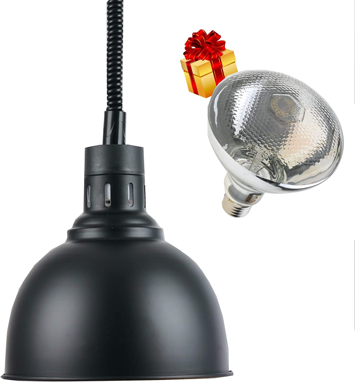 Commercial Food Heat Lamp 300W 60-180cm Length Food Warmer Lamp 250mm Food Heat Hanging Lamp Warmer with Lamp for Restaurant Home Cafeteria Use (BLACK) With One Extra Bulb