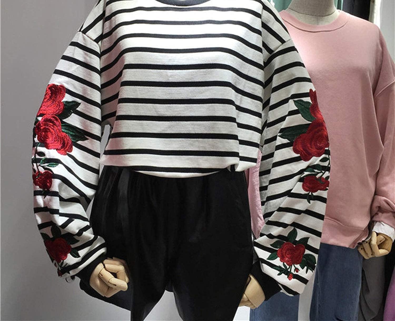 Harajuku Hoodies Roses Embroidery Lantern Sleeve Loose Striped Women Sweatshirt Girl Vintage Elegant at Amazon Womens Clothing store: