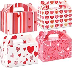 Moretoes 52 Pack Valentine Gable Treat Boxes Cardboard Paper Boxes Party Favor Supplies, Candy Treat Cookie Boxes