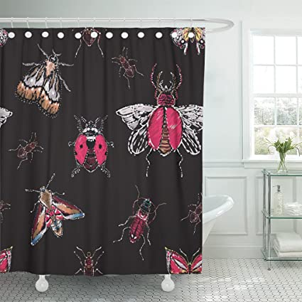 Amazon TOMPOP Shower Curtain Rhinestones Brown Bug Forest Ant