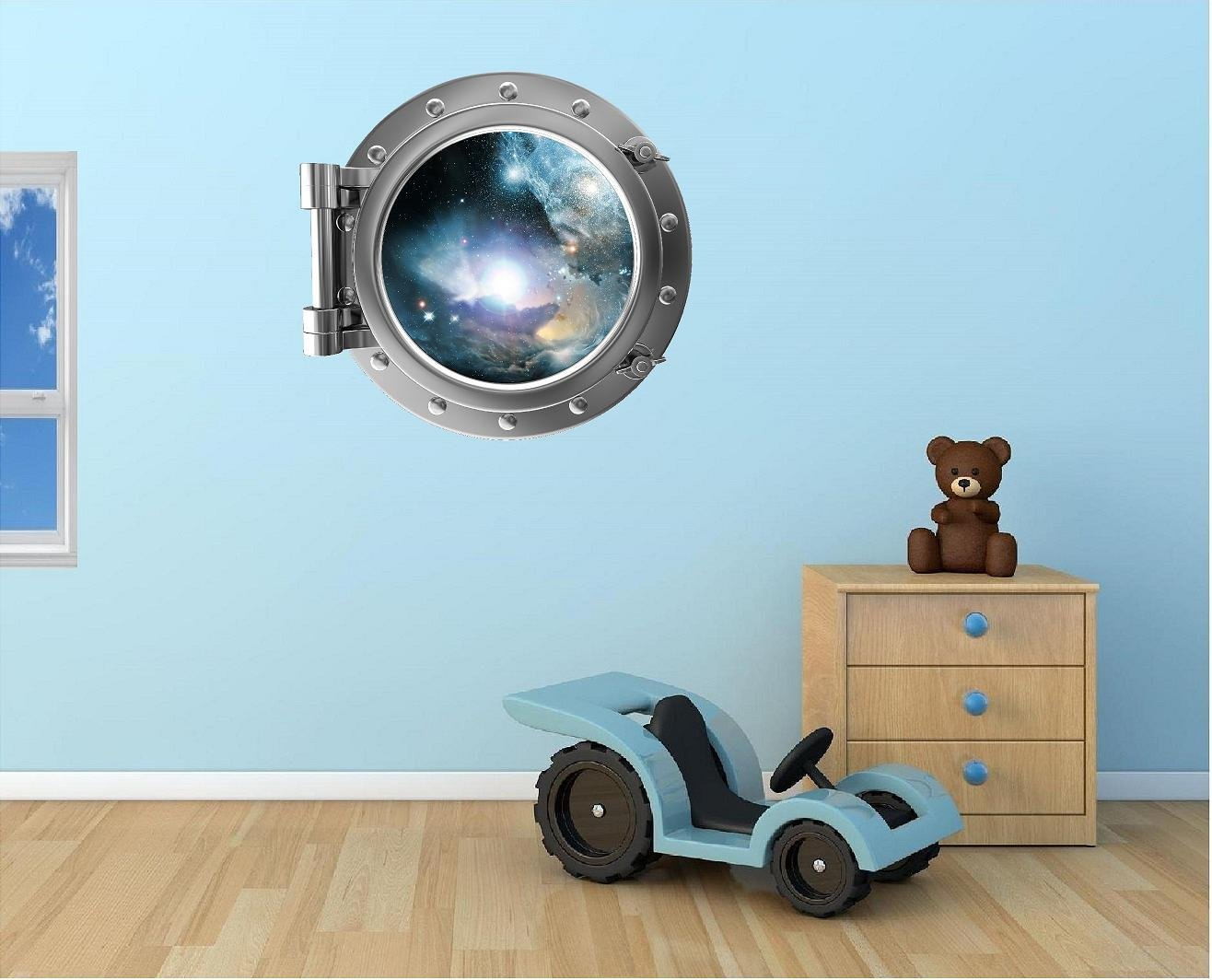 24'' Port Scape Instant Space ship Window View NEBULA & STARS #1 SILVER Porthole Wall Decal Sticker Graphic Mural Home Kids Game Room Art Decor NEW