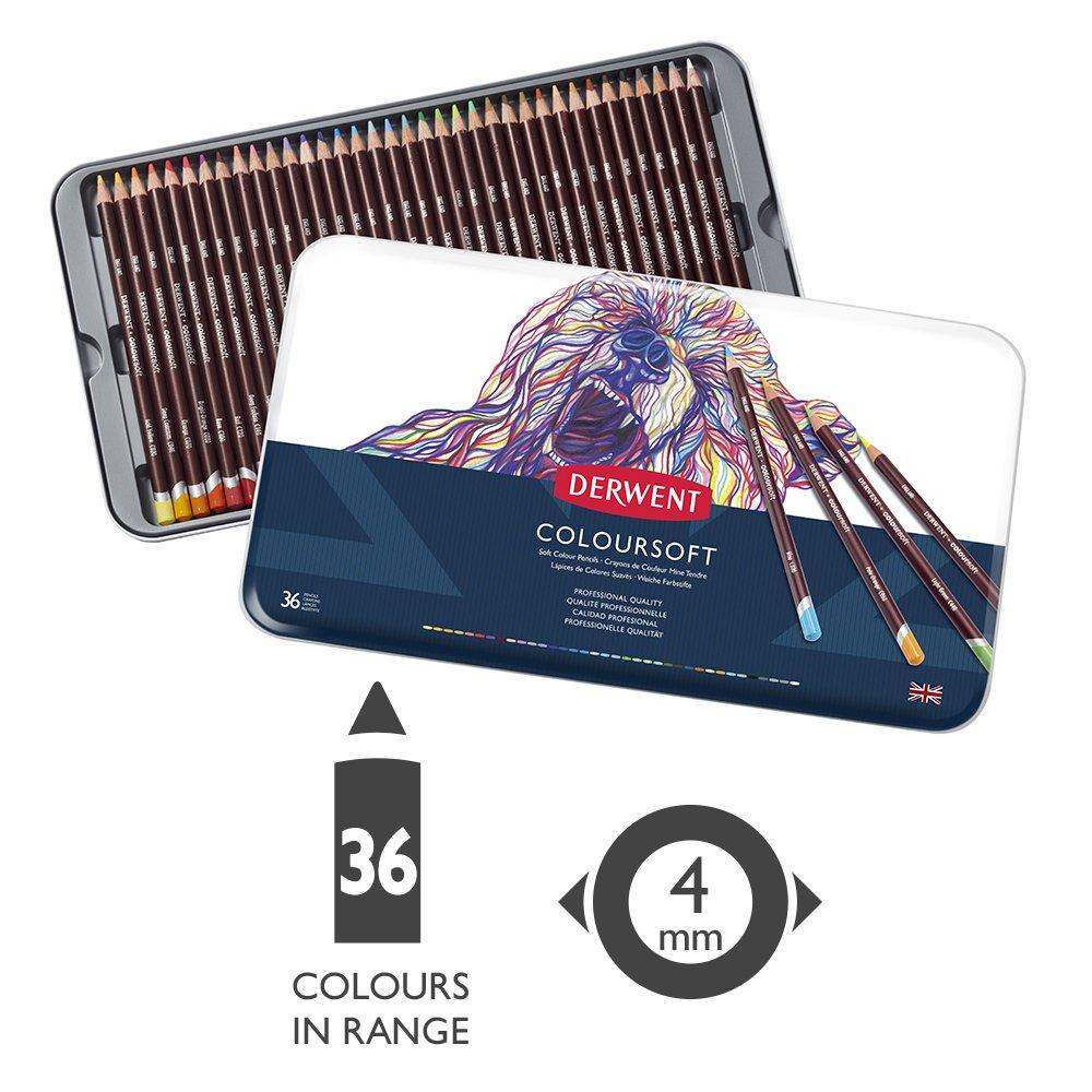 ColourSoft Pencils 72 Count Derwent Colored Pencils Metal Tin 0701029 Art Drawing