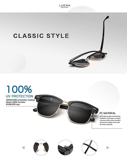 34b6412de3d LUENX Men Clubmaster Polarized Sunglasses Women UV 400 Protection Black  Lens Black Glossy Retro Classic Frame 51MM