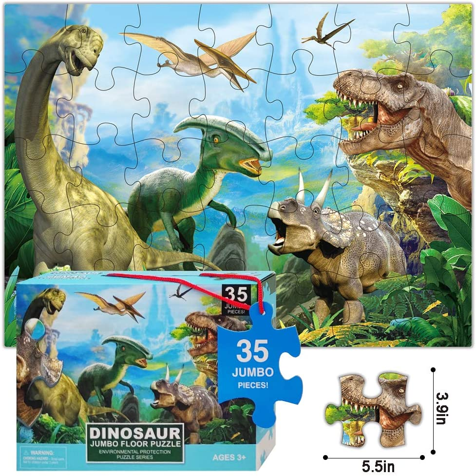 """NEW Birthday 80 piece Kids Wooden Jigsaw /""""dinosaurs/"""" Puzzle Educational Toy"""