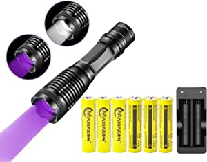 2 in 1 UV Flashlight LED Black Light,And 4PCS Rechargeable 18650 3.7V Battery With Batteries Charge,4 Light Modes and Waterproof for Pet Clothing Food Fungus Detection,Emergency, Camping, Hiking