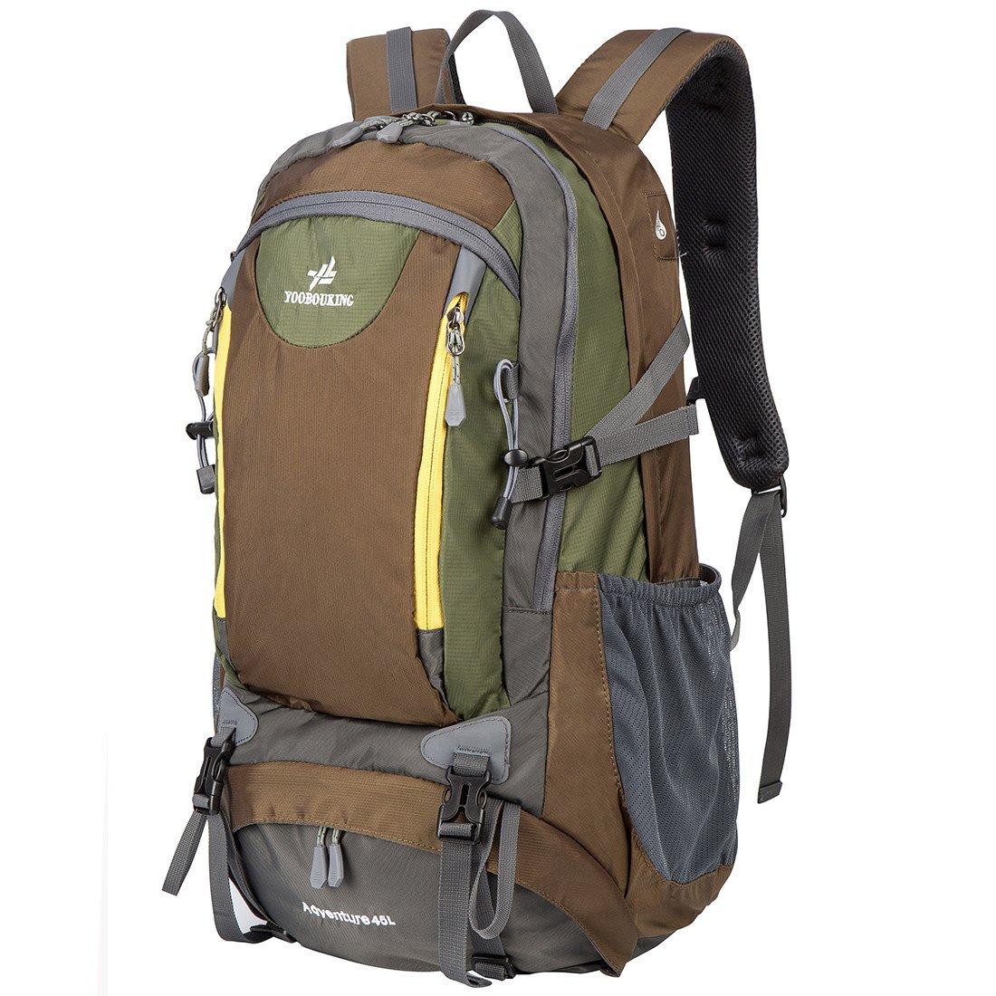 Schumarson ハイキングバックパック 45L 内部フレームバックパック 防水 旅行用デイパック アウトドア ハイキング 旅行 登山 キャンプ用  ブラウン B07BV1R9X8