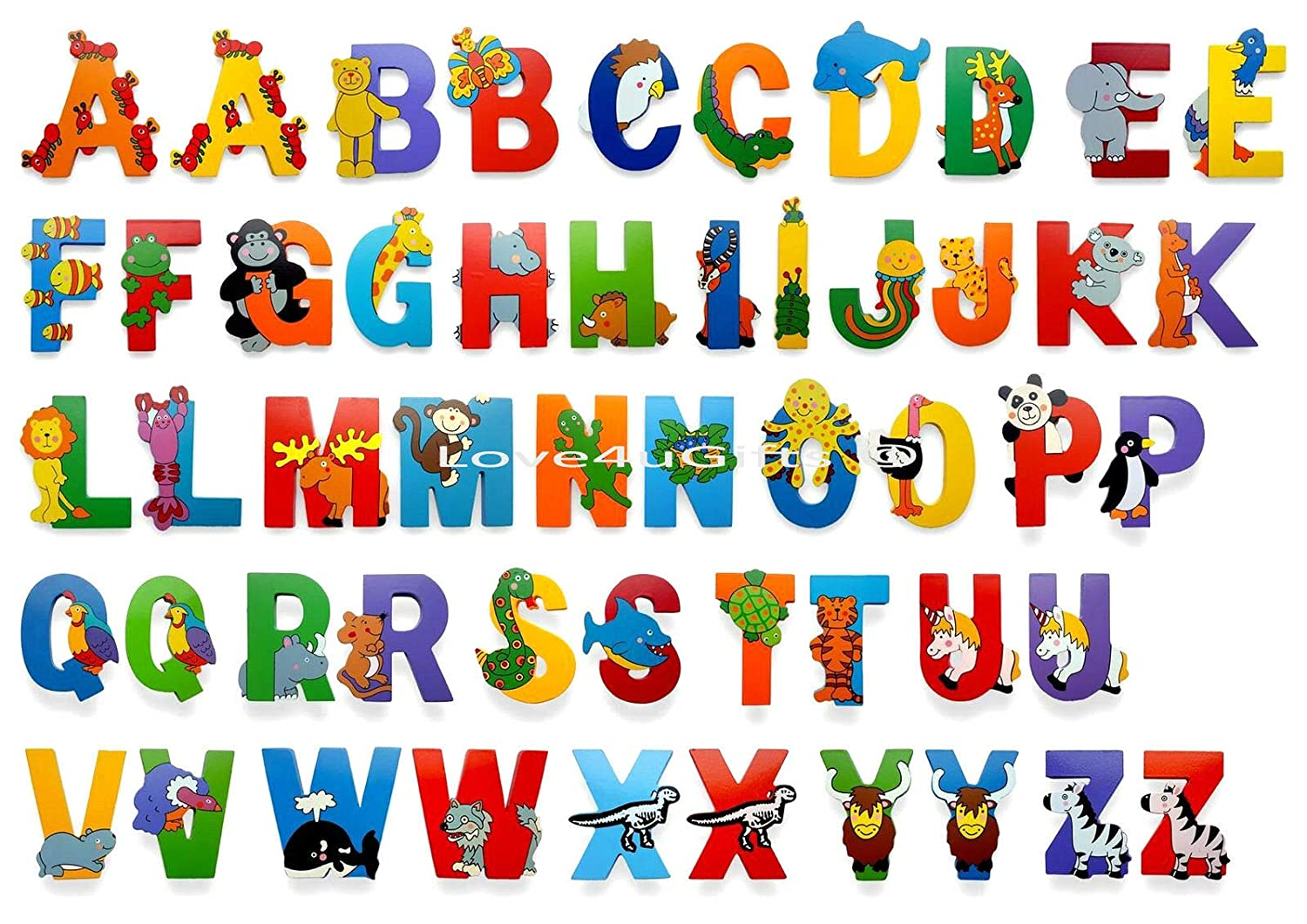 Wooden Jungle Animal Upper Case Alphabet Letters Self Adhesive S