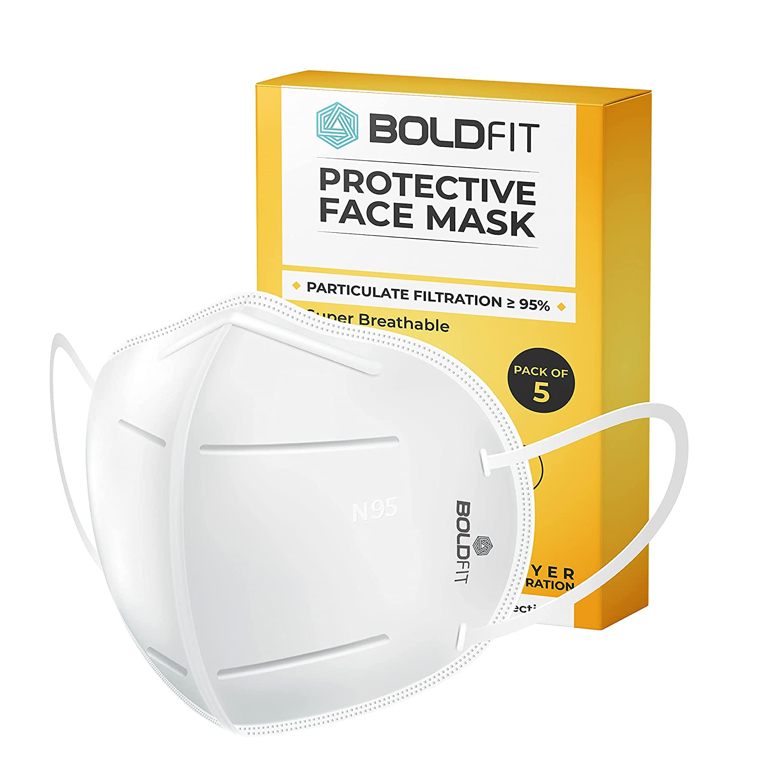 Boldfit N95 mask for face (Pack of 10) Anti Pollution, protective. les
