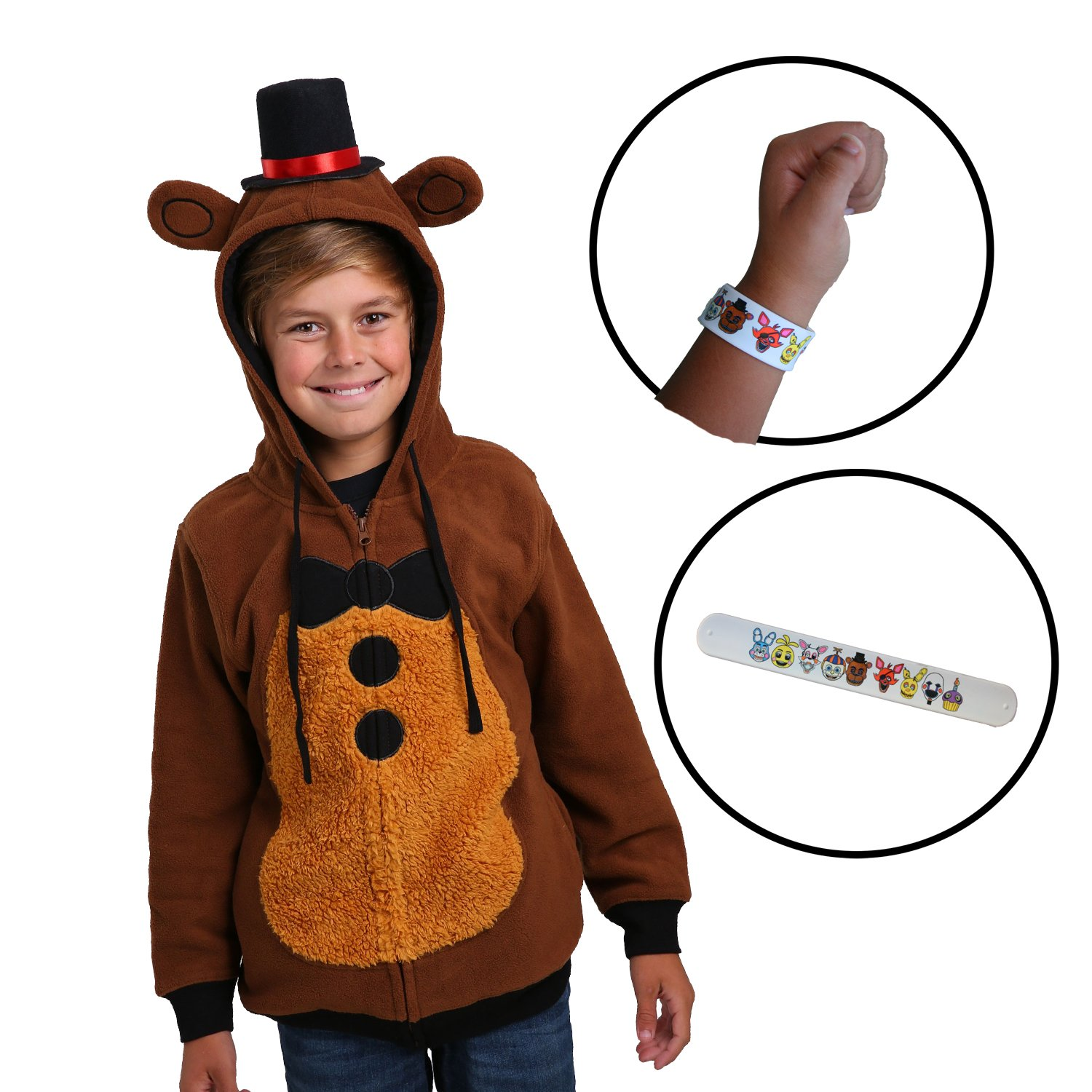 Bioworld Kids Five Nights at Freddy's Hoodie Zip up Sweatshirt Jacket & Bracelet