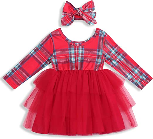Fashion Plaid Toddler Kids Baby Girls Bow Princess Party Dress Sundress Clothes