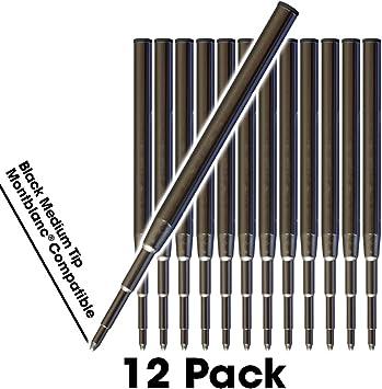 Imagen deJaymo Montblanc Compatible Ballpoint Pen Refills Black, 12 Black MontBlanc