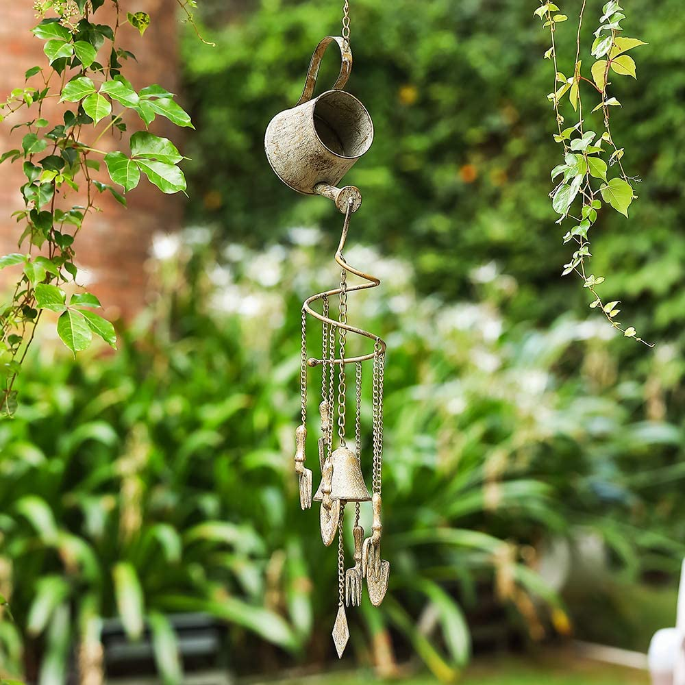 MOCOME Wind Chime Bell for Outside, Unique Watering Can Design, Heavy Duty Wind Chime, Country Garden Hanging Decor for Outdoor Housewarming (Patina)