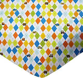 product image for SheetWorld Fitted Pack N Play (Graco Square Playard) Sheet - Argyle Transport - Made In USA