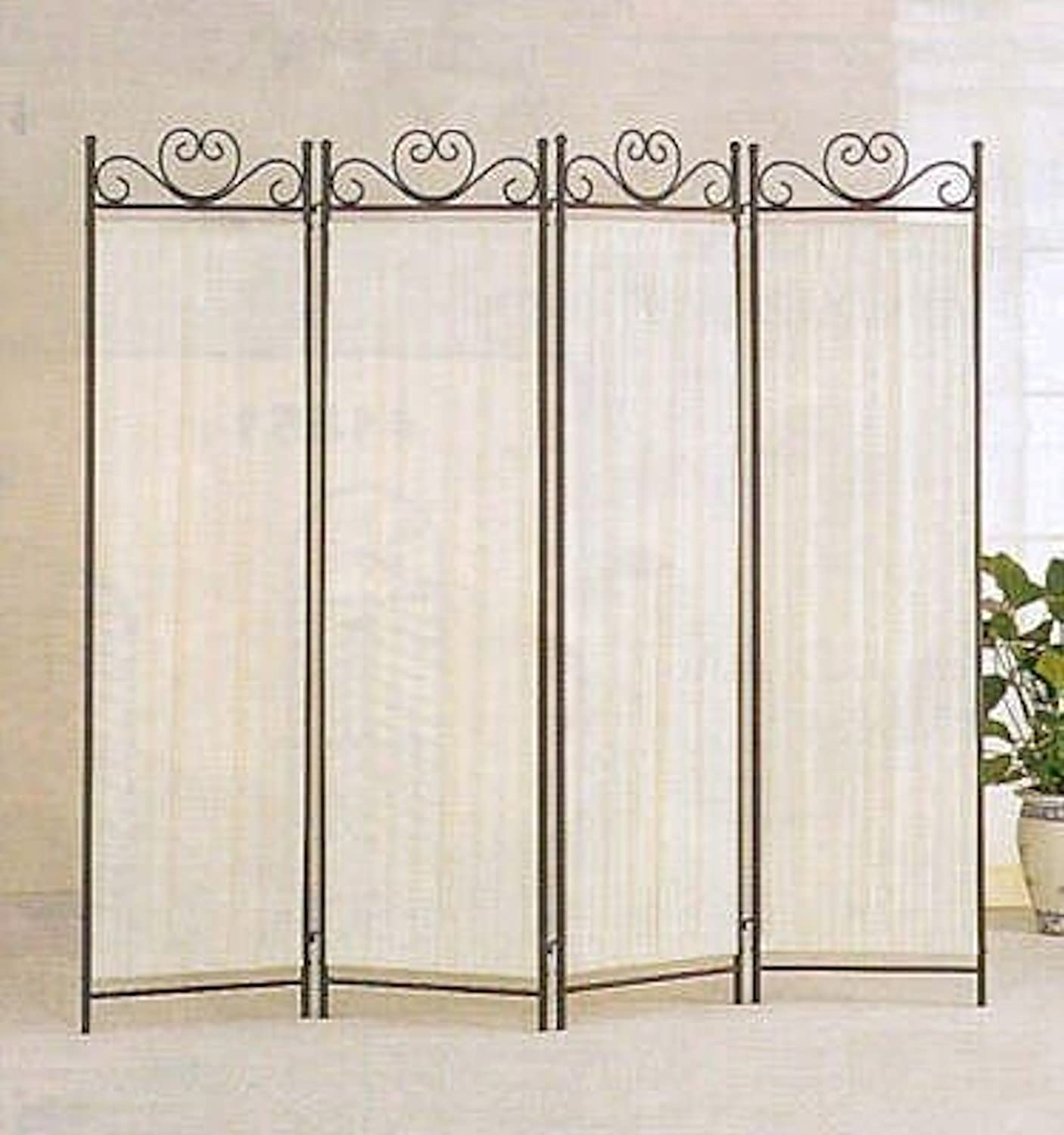 amazoncom legacy decor 4panel room screen divider ivory linen fabric and black metal frame kitchen u0026 dining