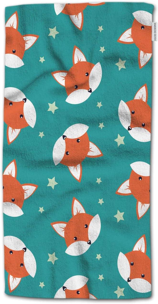 Lot of 2 VINTAGE FOX~TREE~SNOW~crochet top kitchen~bath hand towels~FOX BUTTONS