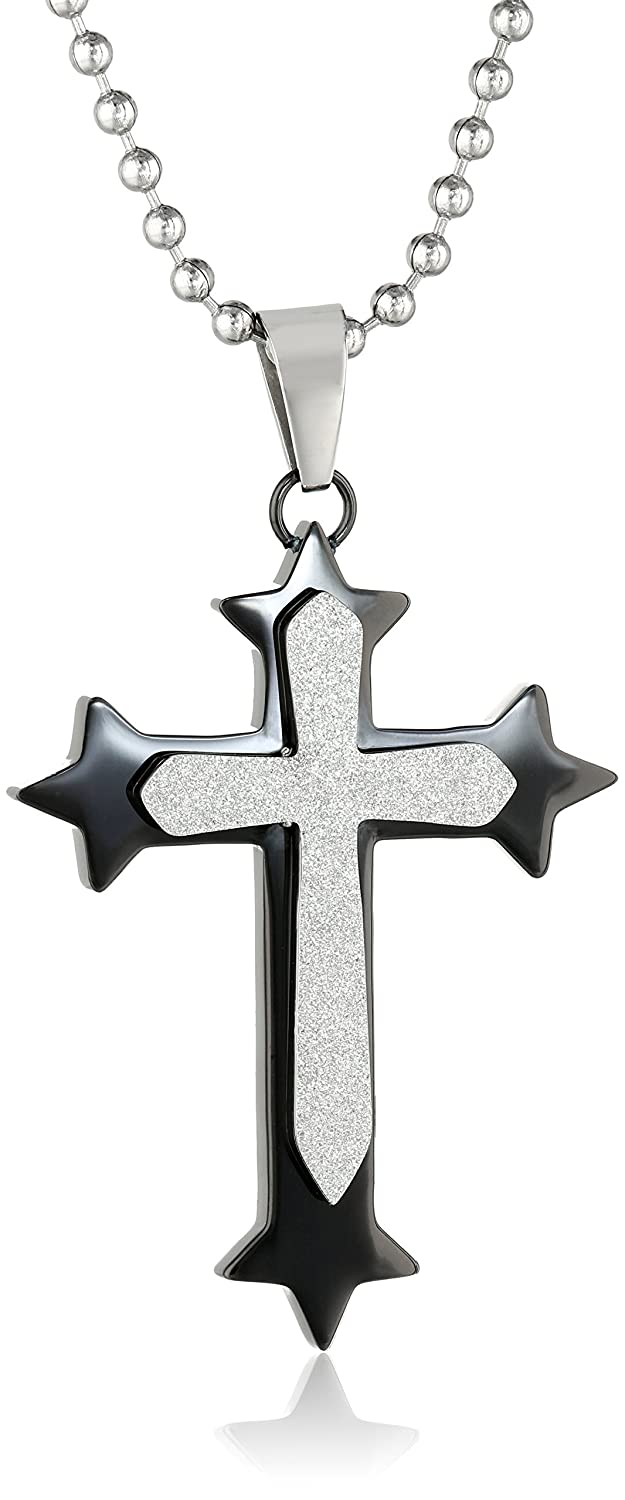Cold Steel Men's Stainless Steel Black Immersion Plated Diamond Cut Cross Pendant Necklace, 48