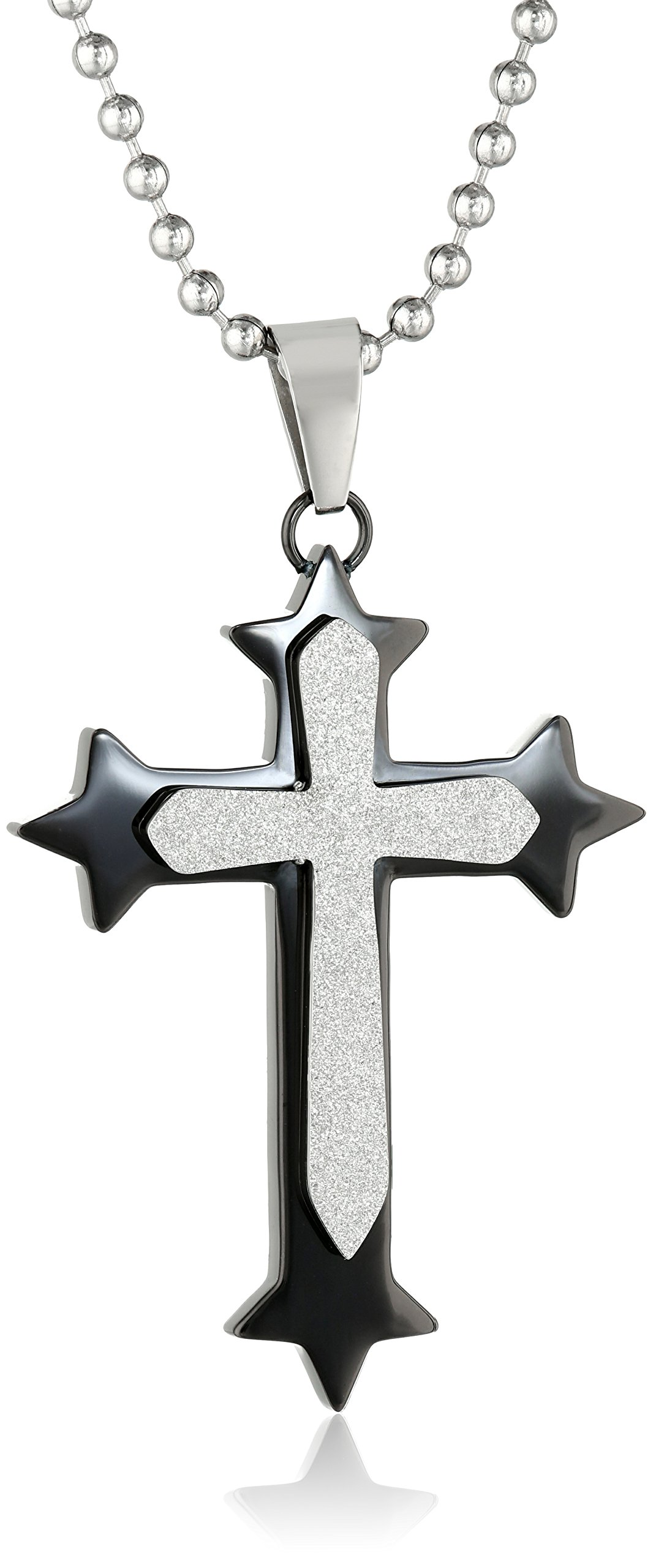 Cold Steel Men's Stainless Steel Black Immersion Plated Diamond Cut Cross Pendant Necklace, 48''