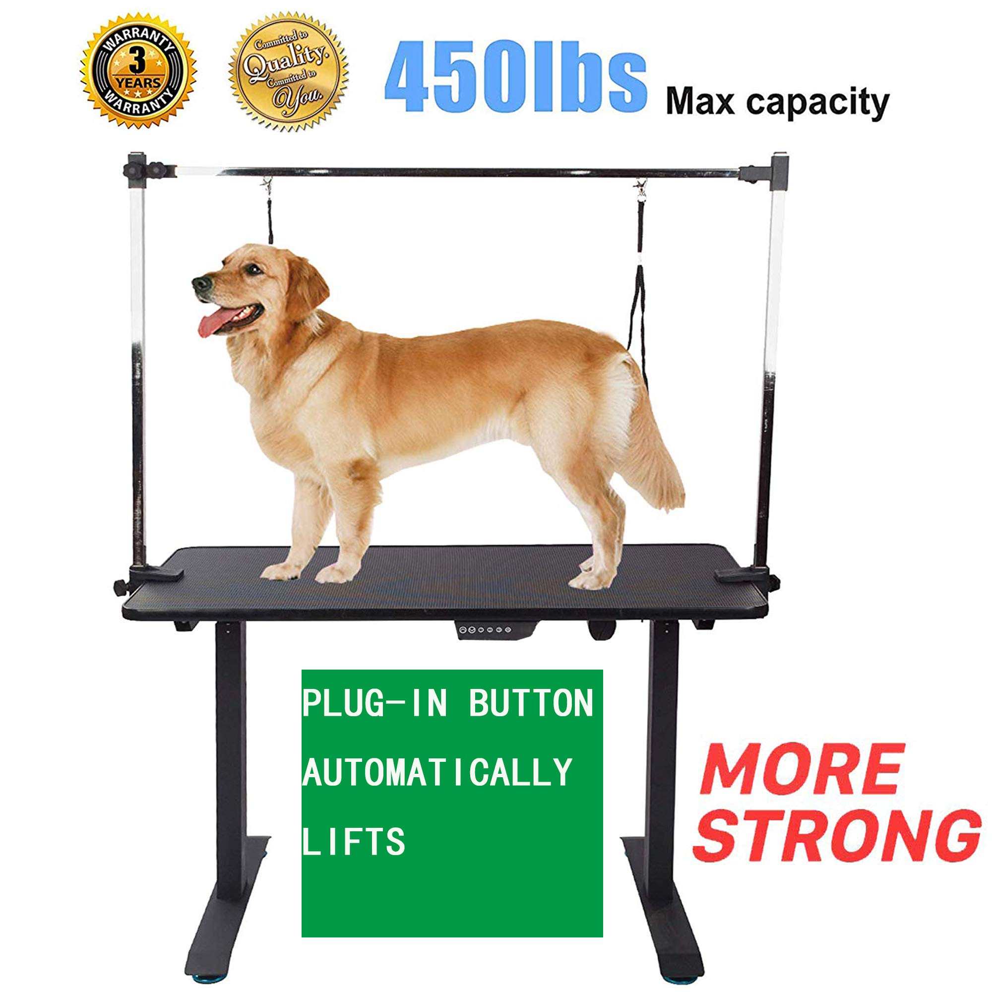 Haige Pet Your Pet Nanny Heavy Duty Electric Lift Dog Grooming Table with Arm Leash Loop Height Professional for Large Medium Dog, 46.1'' L x 23.6'' W x 27.6-45.3'' H