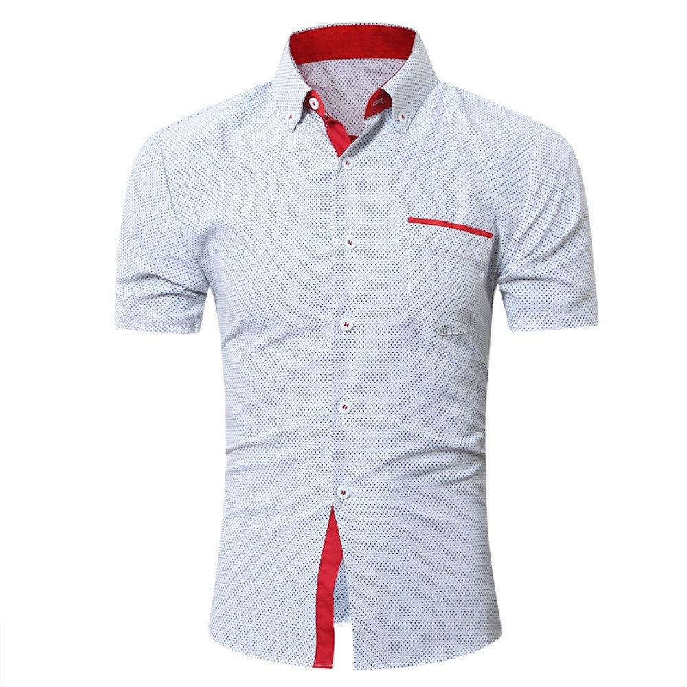 Mens Casual Kurzarmhemd Business Slim Shirt Bluse mit Punktaufdruck DAY.LIN Hemd Herren