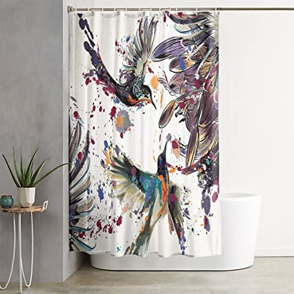 OFloral Hummingbirds Lily Flowers Birds Orange Blue Shower Curtain Decor Set With Liner Waterproof