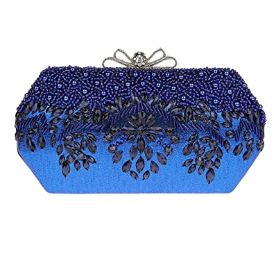KAXIDY Mujer Carteras de Mano Bolsos de Embrague Bolsos de Boda Bolso de Fiesta (Azul