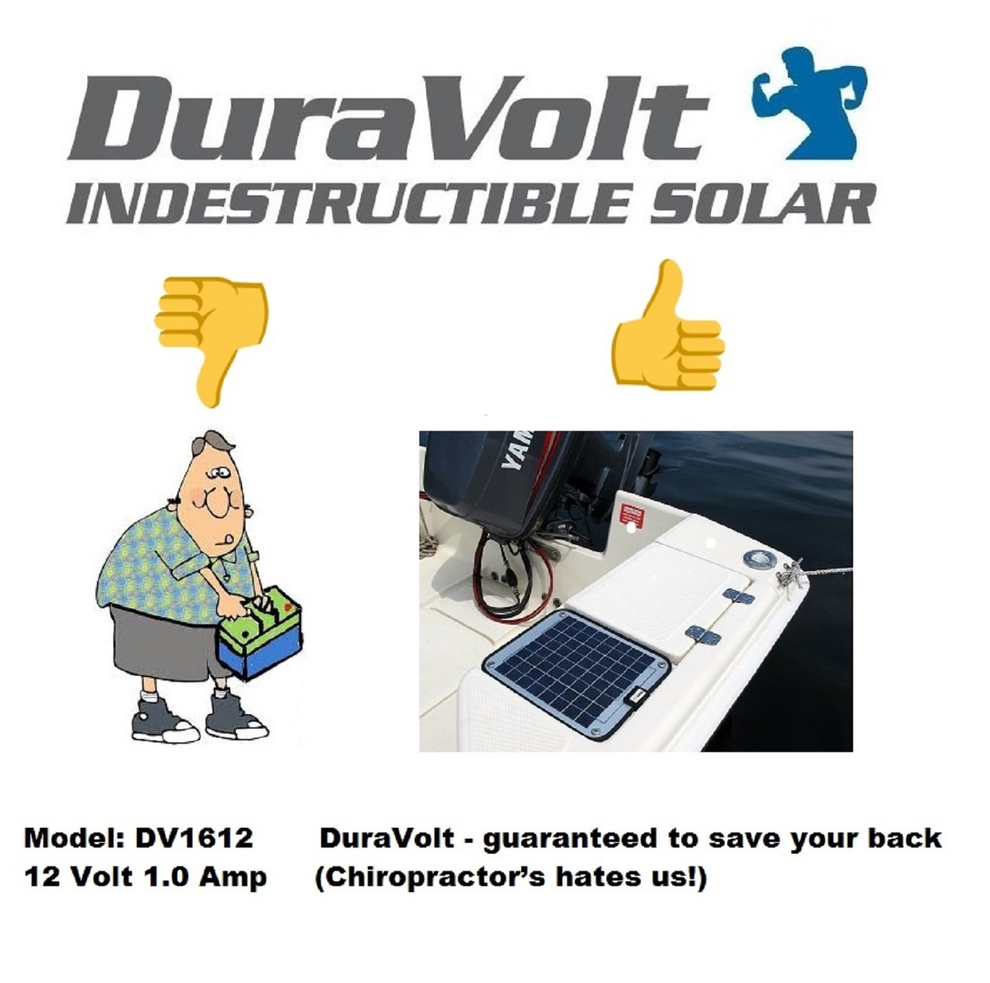 NOW 20 Watt 1.0 Amp - Solar Battery Charger - Boat, RV, Marine & Trolling Motor Solar Panel - 12 Volt - No experience Plug & Play Design. Dimensions 14.1'' L x 15.7'' W x 1/4'' Thick. 10' cable. by DuraVolt (Image #1)