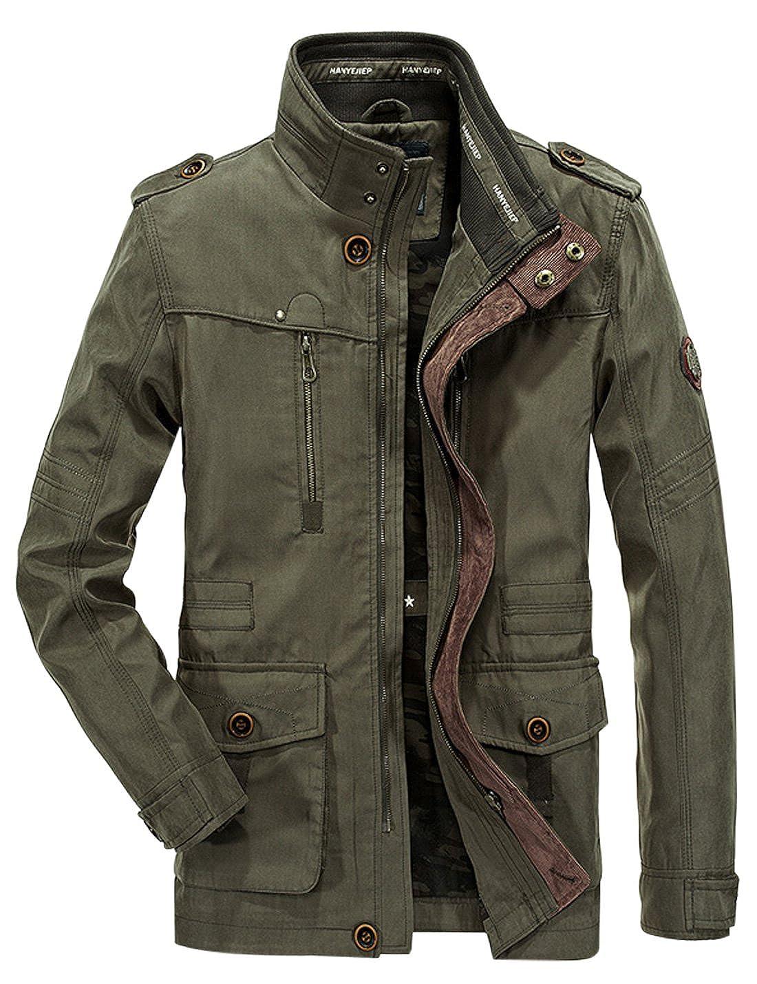 Jenkoon Men s Casul Stand Collar Jacket Lightweight Military Windbreaker  Coat at Amazon Men s Clothing store  1f89a8f3d