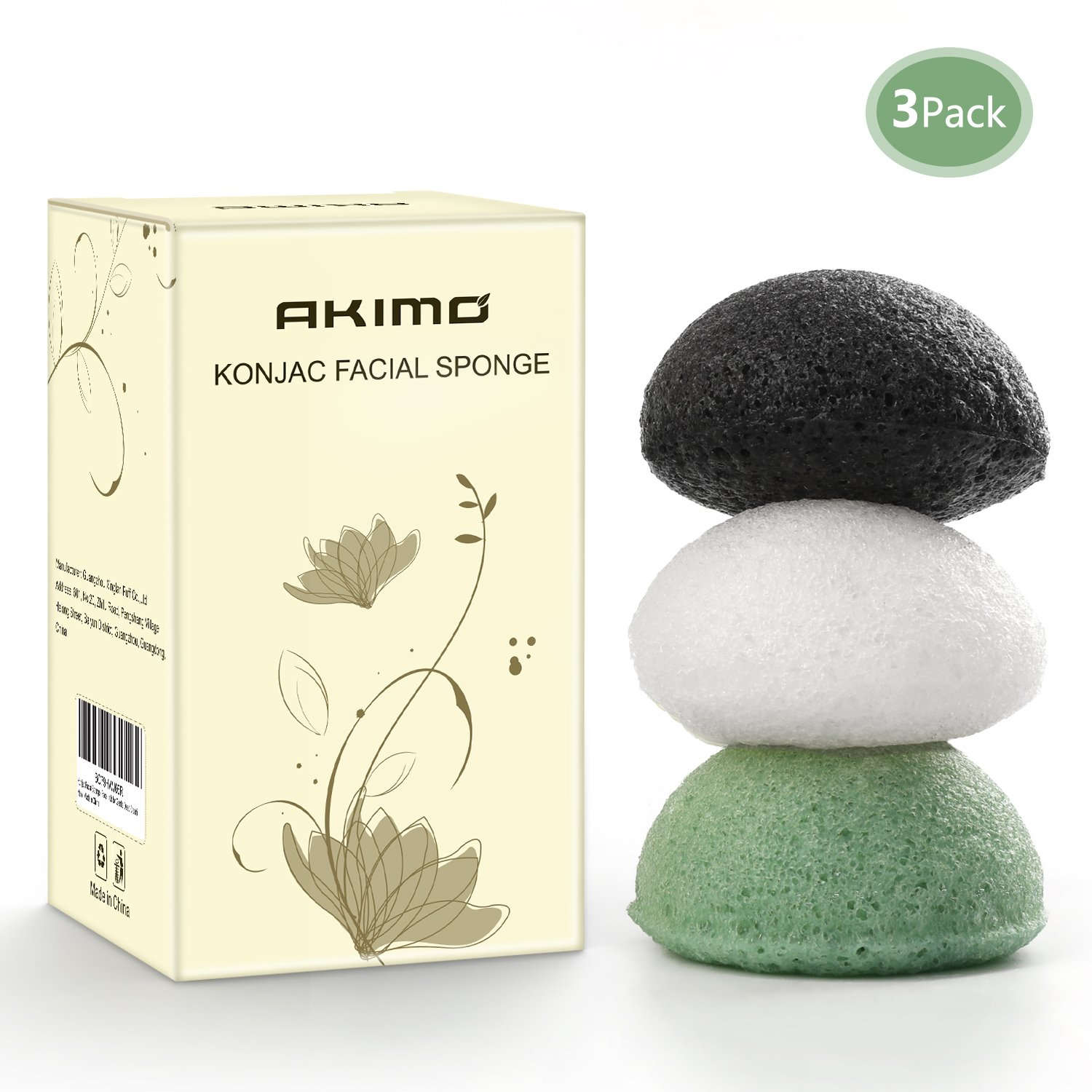 Akimo Konjac Facial Sponge - 3 Pack Natural Activated (Milk, Green Tea and Bamboo Charcoal) Face Exfoliating Scrubber, Gently Deep Pore Cleansing and Body Massage for Men Women
