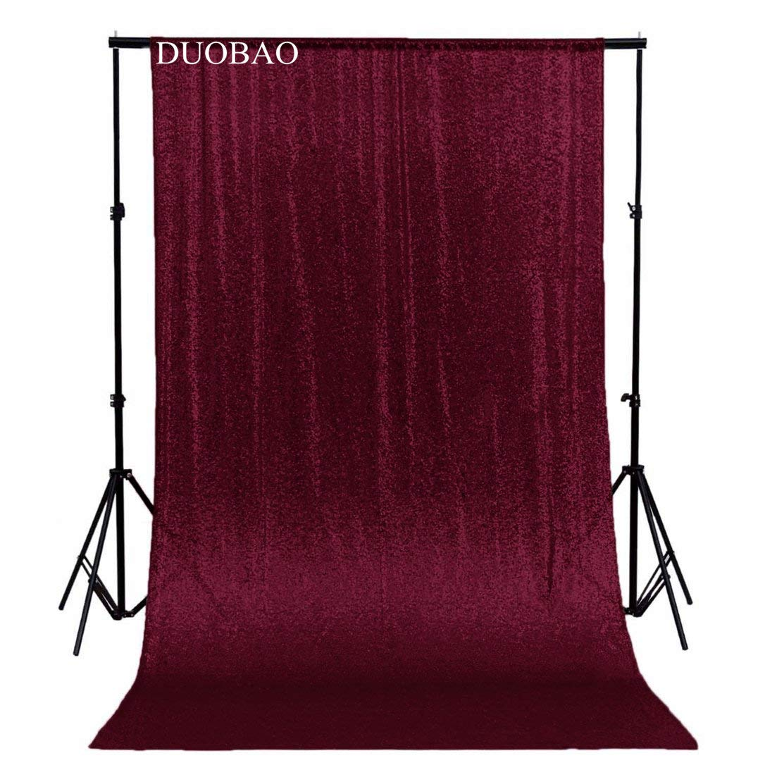 DUOBAO Sequin Backdrop Curtain 4FTx6FT Burgundy Glitter Background Burgundy Sequin Photo Backdrop Prom Party Decor~0613 by DUOBAO