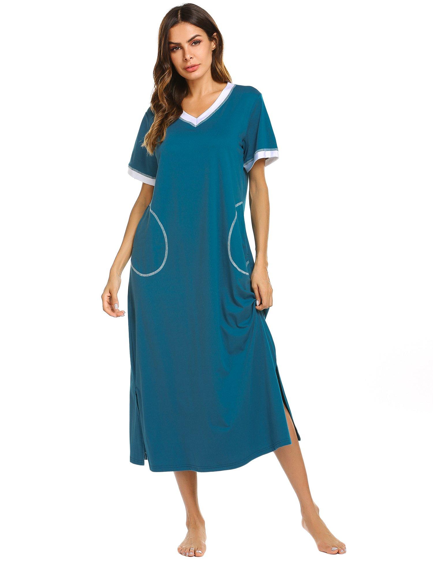 938e7f04a0 Galleon ekouaer plus size nightgown comfy sleepwear lounge dress peacock  blue small jpg 1500x1950 Comfy pjs