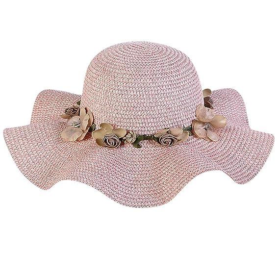 Staresen Sombrero Sombrero de Paja Playa Sombrero Gorro de Sol de Ocio al  Deporte Aire Libre Verano para Mujer Bohemia Verano de la Playa de la Paja  del ... be79a564595