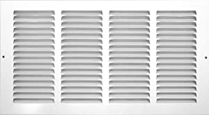 "Rocky Mountain Goods Air Return Grille - Heavy duty steel with premium finish - Includes full installation kit - Louvered design - Paintable vent cover - Matte white - Consistent air flow (14"" x 6"")"
