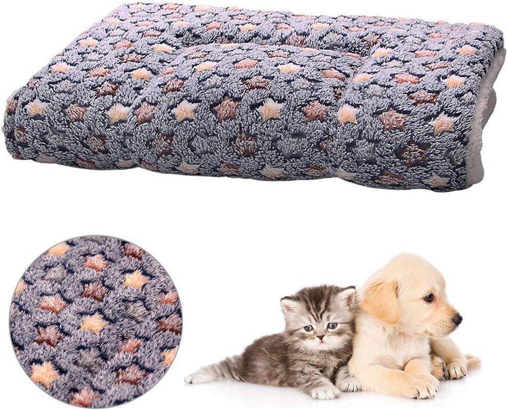 FANDE Cojines para Mascotas, Manta para Perro, Almohadilla para Perro, Manta para Gato con de Estrella, Cómoda Almohadilla para Perros pequeños, Mascotas, Gatos (M, 55 * 42 CM)