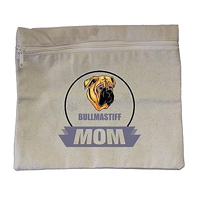 "Canvas Zipper Pouch Tote Bag 10""X12"" Mom Bullmastiff Dog Style In Print"