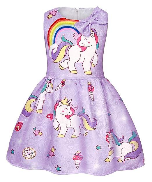 d19634883c31 AmzBarley Vestido Unicornio de Las Muchachas Vestidos de la Princesa sin  Mangas para la Fiesta Cabritos