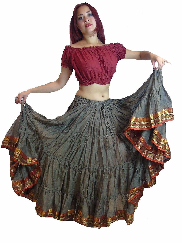 25ヤードベリーFusionダンススカート、スカート、トライバルヒッピーボーホーFestival Gypsy B01I83NN54 Light Brown Red Black
